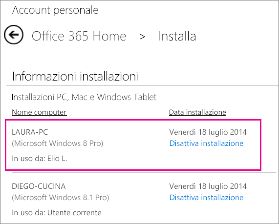 Screenshot della pagina di installazione con selezionati un nome computer e il nome della persona che ha installato Office.