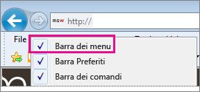 Visualizzazione della barra dei menu Internet Explorer