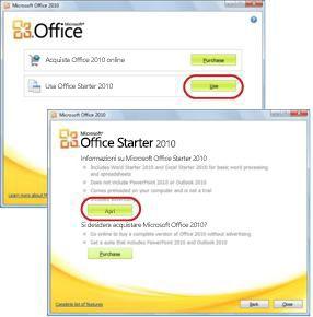 Primo utilizzo di Office Starter