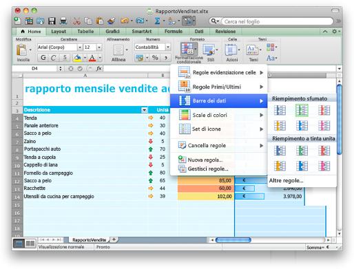Excel con le opzioni di formattazione condizionale