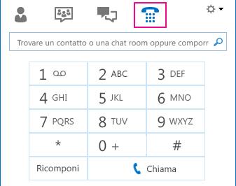 Schermata dell'icona Telefono che mostra la tastiera utilizzabile per effettuare chiamate
