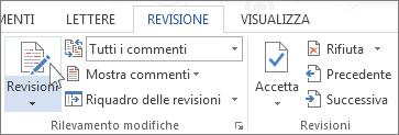 Revisioni sulla barra multifunzione di Word