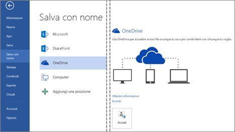 Salvataggio di un file in OneDrive