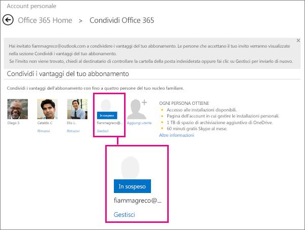 Schermata della pagina di condivisione di Office 365 con un utente selezionato per un abbonamento condiviso in sospeso.