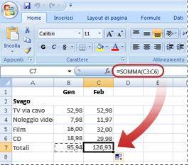 Esempio di applicazione immediata della formula copiata nella nuova colonna