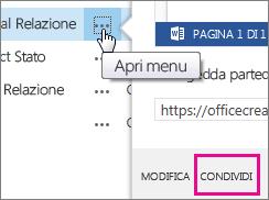 Fare clic su Apri menu, quindi su Condividi per inviare un collegamento