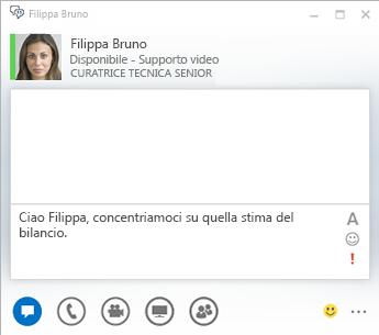Schermata della finestra di conversazione istantanea