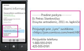 """Ekrano nuotrauka, kurioje rodoma užklausa Prisijungti prie """"Lync"""" susitikimo programoje """"Lync"""" mobiliesiems klientams"""