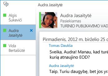 Pokalbio skirtuko ekrano nuotrauka