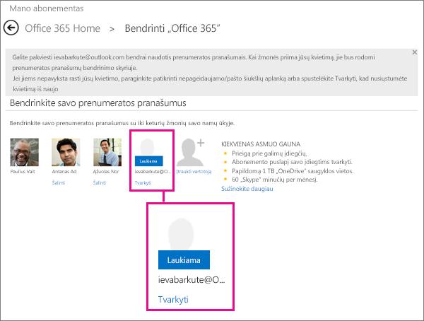 """""""Share Office 365"""" puslapio su pasirinktu laukiančios bendrinamos prenumeratos vartotoju ekrano nuotrauka."""