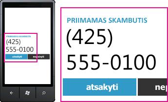"""Ekrano nuotrauka, kurioje rodomas gaunamo skambučio telefono numeris ir atsiliepimo mygtukas programoje """"Lync"""" mobiliesiems klientams"""