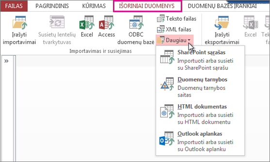 External data tab options in Access