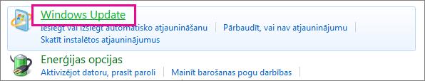Saite Windows atjaunināšana vadības panelī