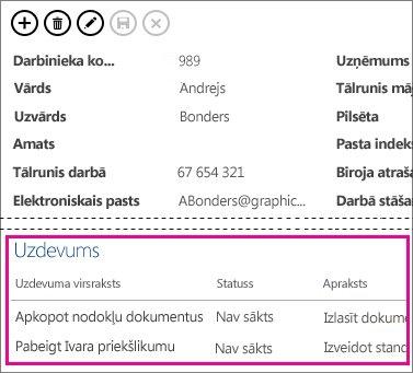 Access lietojumprogrammas skats ar uzdevumiem, attēlots saistīto vienumu vadīklā.