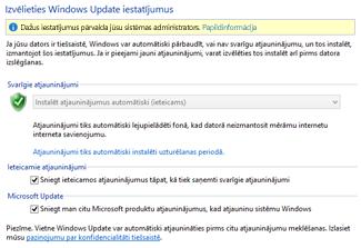 Windows Update iestatījumi operētājsistēmas Windows8 vadības panelī