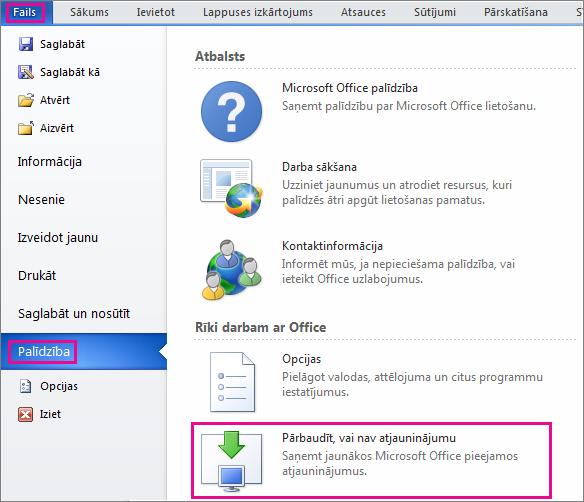 Office atjauninājumu manuāla meklēšana programmā Word2010