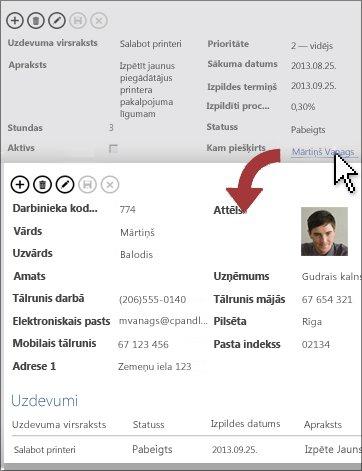 Noklikšķināšana uz detalizēšanas pogas, lai atvērtu detalizētas informācijas skatu.