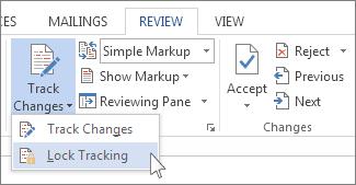 Perintah kunci perubahan pada menu Jejak Perubahan