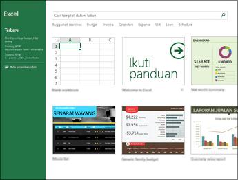 Beberapa templat yang tersedia dalam Excel