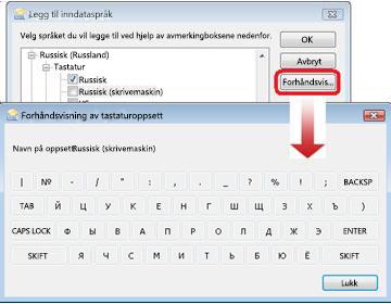Dialogboksen Legg til inndataspråk med russisk tastatur
