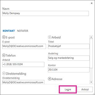 Legge til en ny kontakt i Outlook fra en melding