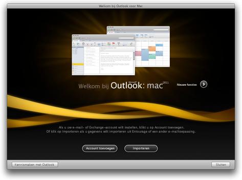 Startscherm van Outlook