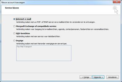 De optie Server kiezen in het dialoogvenster Nieuw account toevoegen