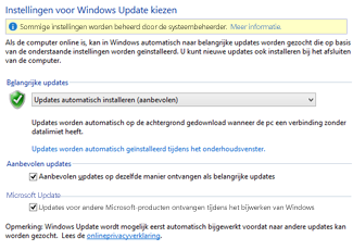 De Windows Update-instellingen in het Configuratiescherm van Windows 8