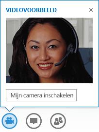 Schermafbeelding van een videovoorbeeld waarbij Mijn camera aanzetten is geselecteerd
