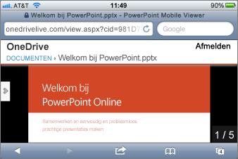 Diavoorstelling in de Mobile-viewer voor PowerPoint