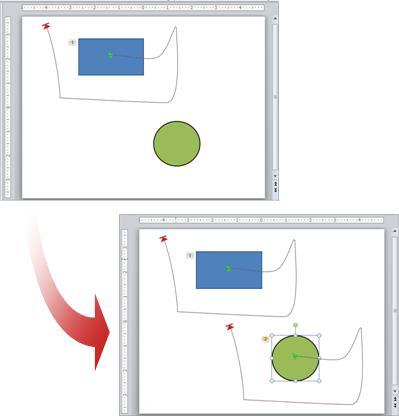 Voorbeeld van een animatie die wordt gekopieerd naar een ander object