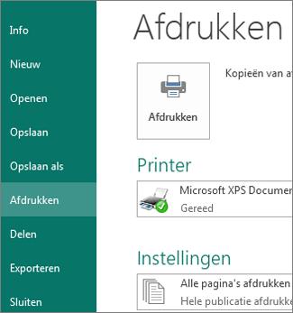 Schermafbeelding van de afdrukopties in Publisher.