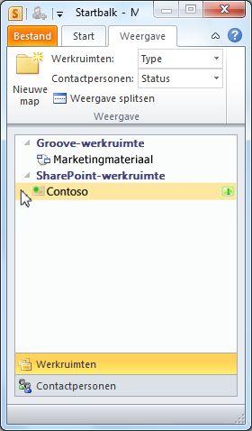Een SharePoint-werkruimte in de startbalk