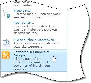 Menu Siteacties van SharePoint Designer 2010