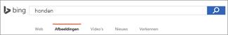 Query ingevoerd in het zoekvak voor Bing Image