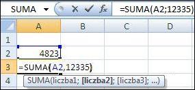 Dodawanie komórki i wartości przy użyciu funkcji SUMA