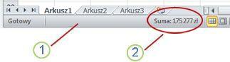 Pasek stanu programu Excel