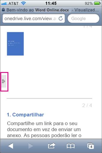 Toque para abrir a barra de ferramentas nos Visualizadores do Office Mobile