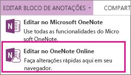 Editar Bloco de Anotações no OneNote Online