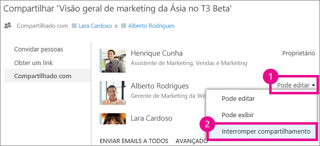 O comando Interromper compartilhamento na janela Compartilhar do OneDrive for Business