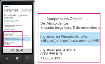 Captura de tela mostrando a solicitação Ingressar em Reunião do Lync no Lync para cliente móvel