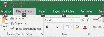 Emblemas de Dica de Tecla que aparecem na faixa de opções