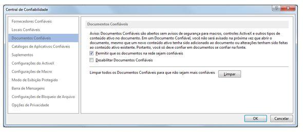 Área de Documentos Confiáveis da Central de Confiabilidade