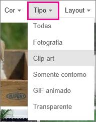 Digite menu com Clip-art selecionado