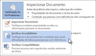 Verificar o comando Acessibilidade no Word 2013