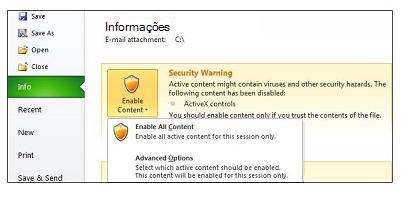 Área Aviso de Segurança quando um arquivo não é confiável