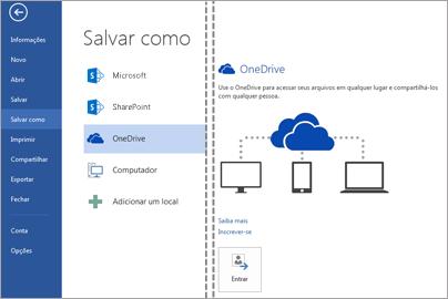 Salvando um arquivo no OneDrive