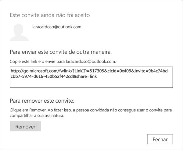 Captura de tela da caixa de diálogo de um convite pendente, com um link para enviar por email e um botão para remover o convite.