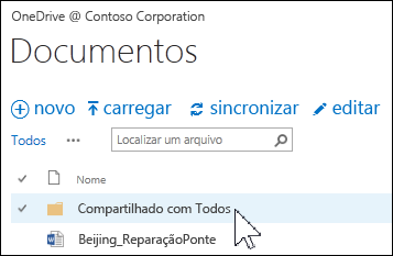 Pasta Compartilhado com todos no OneDrive for Business