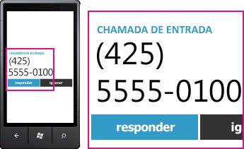 Captura de tela mostrando número de telefone de uma chamada recebida e o botão de atendimento em um cliente móvel do Lync